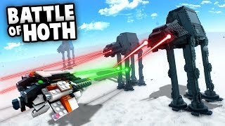 BATTLE of HOTH! LEGO Star Wars Snow Speeders vs AT-AT Walkers! (Brick Rigs Multiplayer Gameplay)
