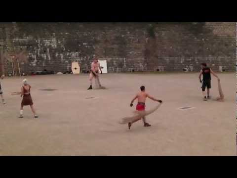 Gladiator Practice at the Roman Amphitheater in Trier, Germany