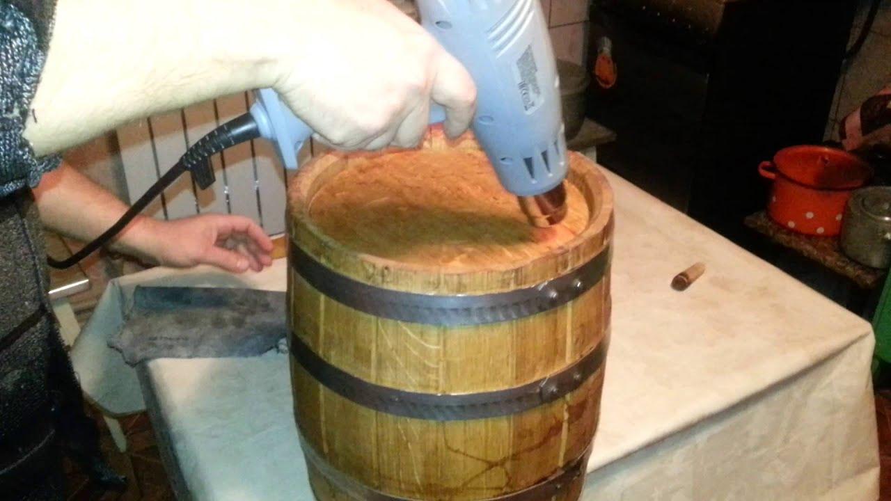 подготовка дубового боченка, вощение