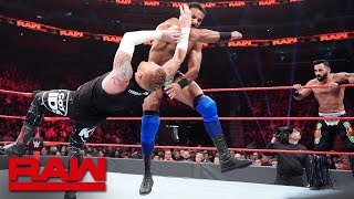 Heath Slater & Rhyno vs. Jinder Mahal & The Singh Brothers  2on3 Handicap Match: Raw, Dec. 31,..