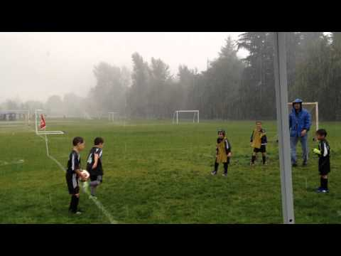 Thomas' rainy soccer day.