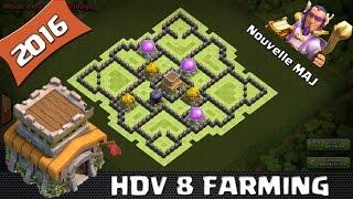 clash of clans hdv 8 farm 2016 new hro hybride
