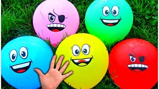 NEW Finger Family Rhymes - LEARN COLORS with Smiley Face Water Balloons - Baby Songs