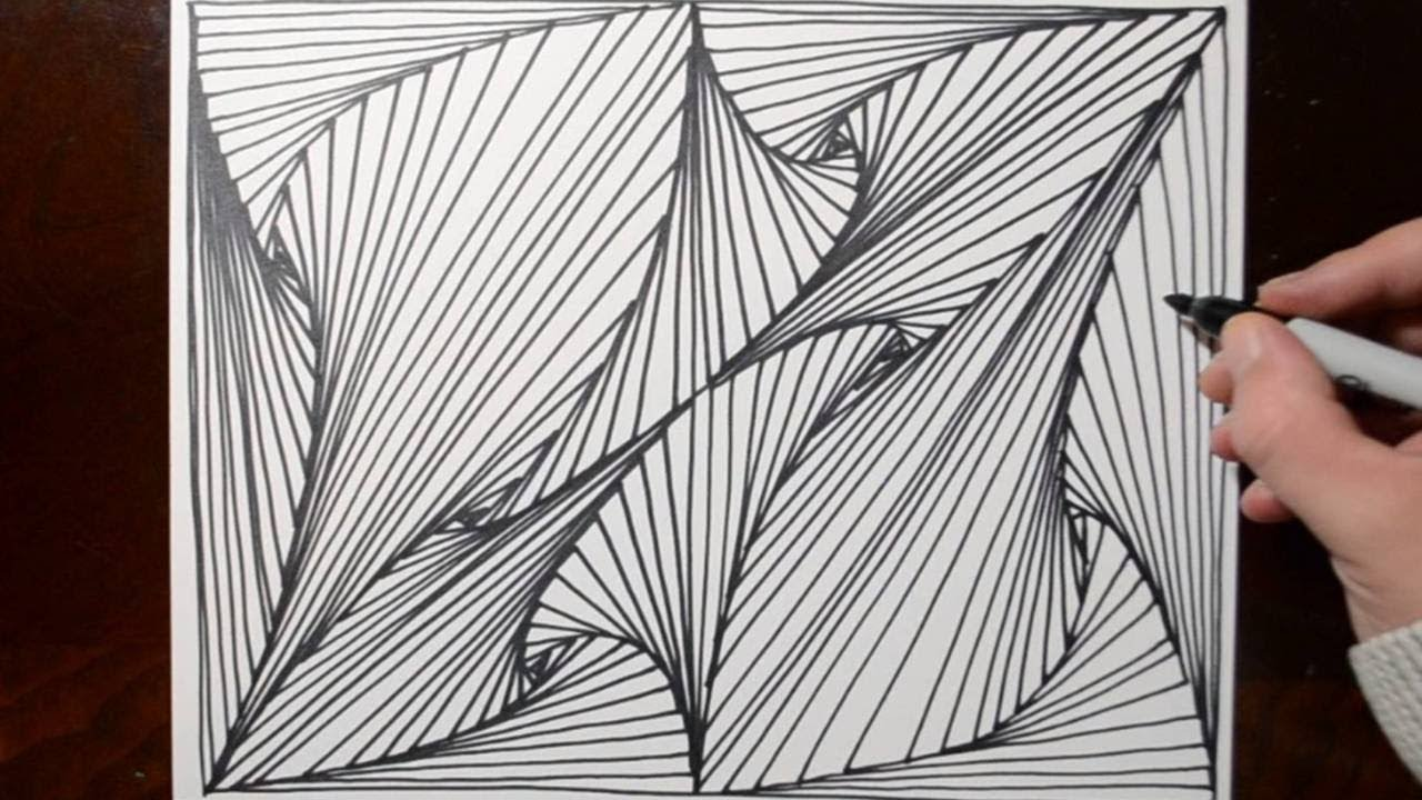 Drawing Lines R : Doodle sketching optical illusion lines pattern youtube