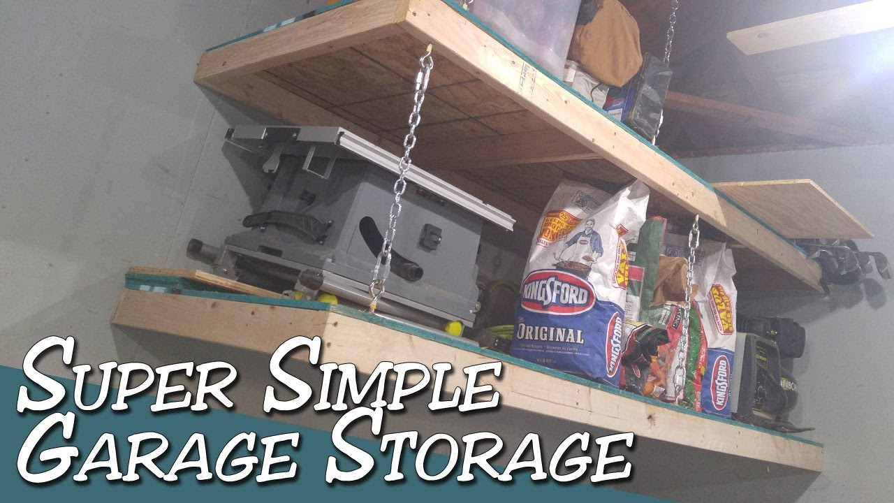 Super Simple Hanging Garage Storage Shelves With Chains