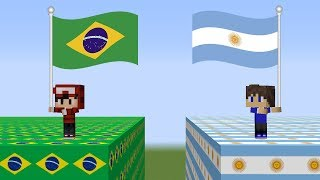 LUCKY BLOCK DO BRASIL VS LUCKY BLOCK DA ARGENTINA - MINECRAFT