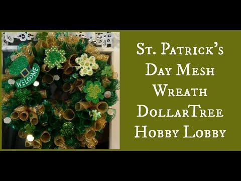 St. Patricks Day Mesh Wreath- DollarTree/Hobby Lobby