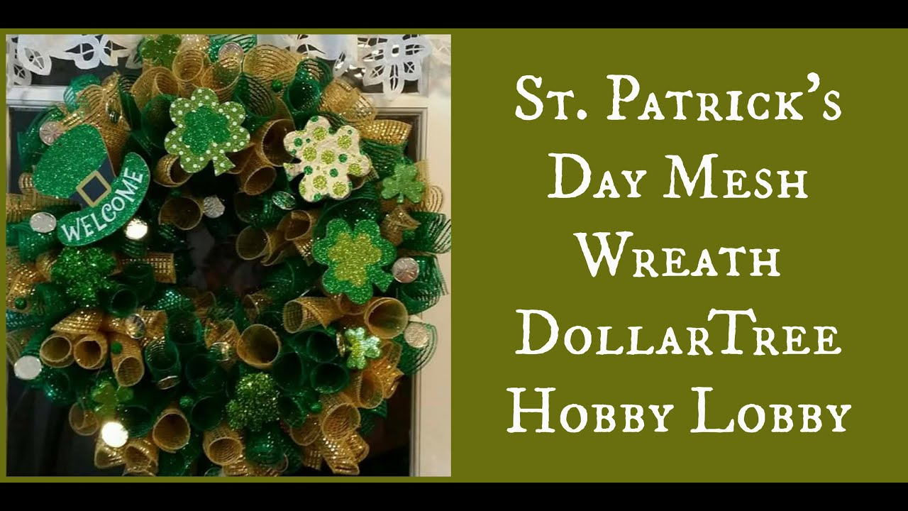 st patrick 39 s day mesh wreath dollartree hobby lobby youtube. Black Bedroom Furniture Sets. Home Design Ideas