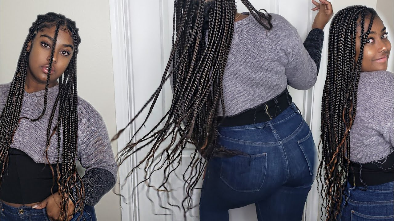 bohemian box braids with human