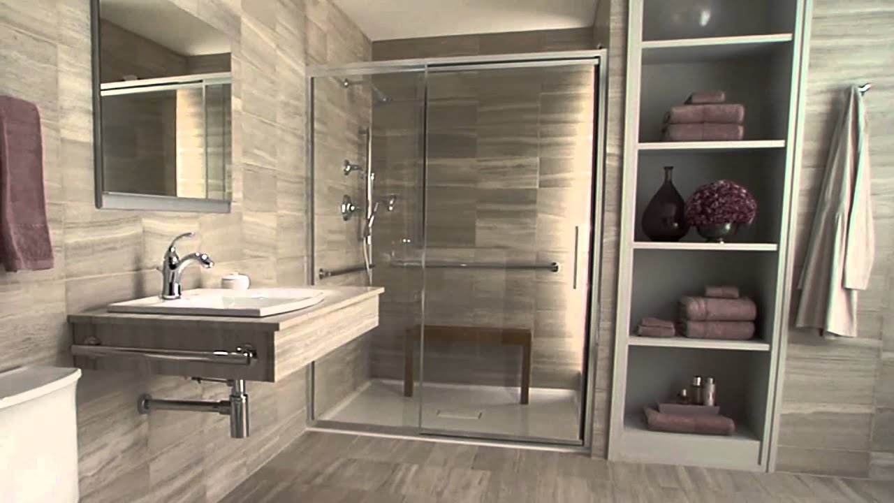 Kohler accessible bathroom solutions youtube for Handicapped accessible bathroom plans
