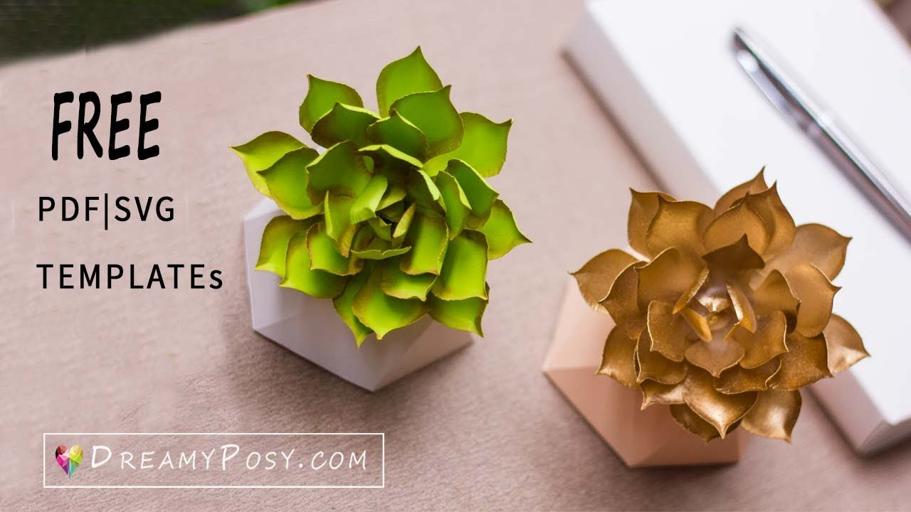 how to make paper succulent free template youtube