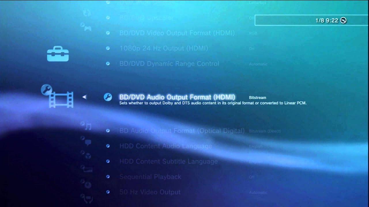 ONKYO AVR AV Home Cinema Receiver - OSD Setup of PS3 (old FAT ...
