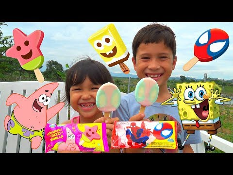 Es Krim Spiderman + Spongebob + Patrick !! Nyobain Ice Cream Campina