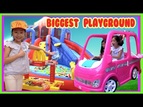 Pretend Play Mcdonalds Drive Thru with Ryan's Toy Review inspired ( Barbie Dream Camper Car Prank )