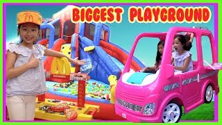 Pretend Play Playground with Barbie Dream Camper Car