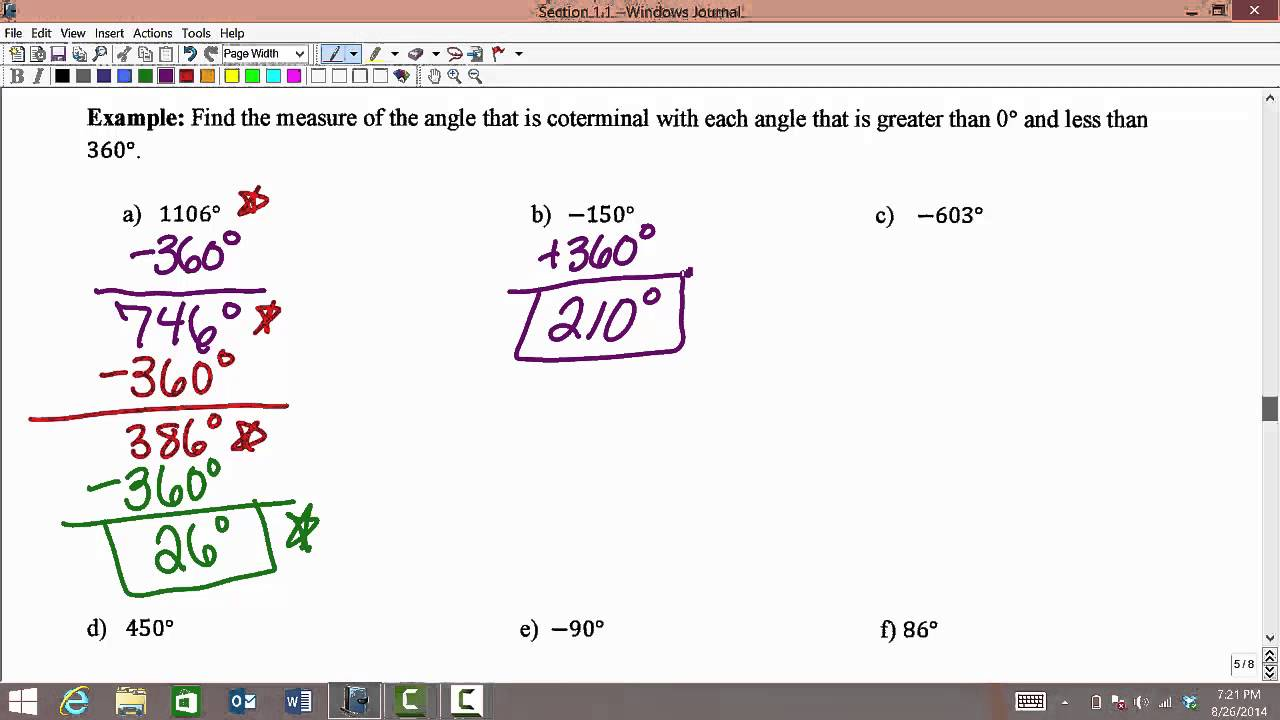 MATH 1316 Section 1 1: Finding coterminal angles of least positive measure