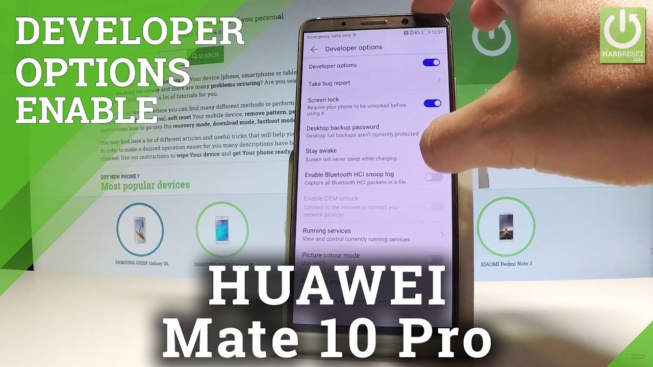 Developer Options in HUAWEI Mate 10 Pro - Allow USB Debugging