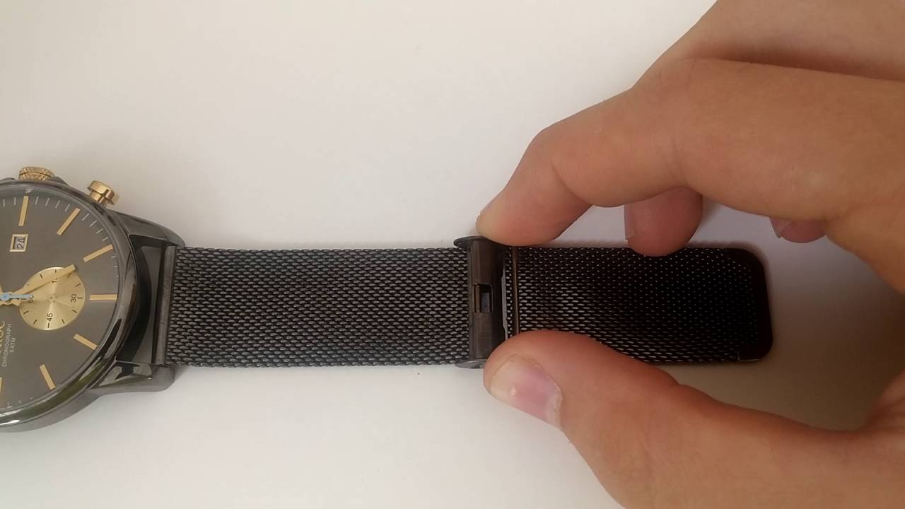 f2caf645801 How to Adjust a Watch Clasp on a Metal Mesh Strap - YouTube