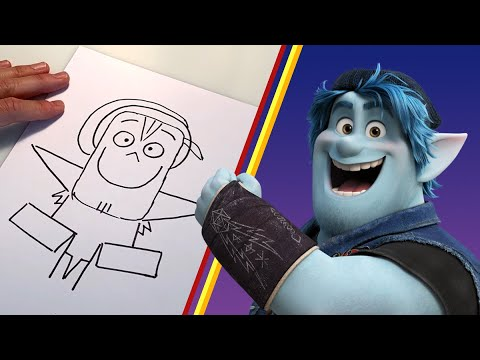 How to Draw Barley Lightfoot From Onward   Draw With Pixar