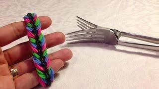 Браслет Друзья на вилке, для тех, у кого еще нет станка rainbow loom, Радужки Rainbow Loom