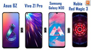 5,000 mAh battery test: Vivo Z1 Pro vs Asus 6Z vs Nubia Red Magic 3 vs Galaxy M30: [Hindi-हिन्दी]