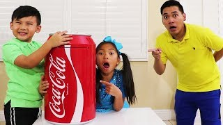 Wendy & Liam Pretend Play w/ Giant Coke Toy to Johny Johny Kids Learning Song