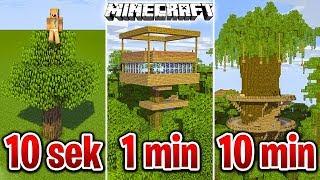 Minecraft BUDUJĘ DOMEK NA DRZEWIE W 10 SEKUND, 1 MINUTĘ I 10 MINUT!