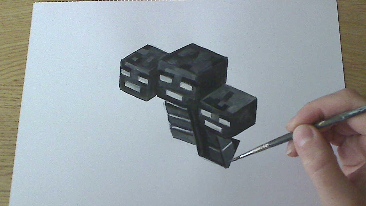 How To Draw Paint Wither Minecraft Youtube