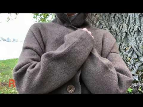 Пальто из шерсти яка коричневое