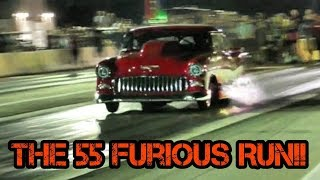 The 55 vs Dennis the Meance Twin Turbo Camaro at red13 no prep thumbnail
