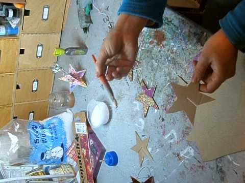 tutoriel creation etoile de noel pour d corer le sapin en carton mat riaux recuperation avec. Black Bedroom Furniture Sets. Home Design Ideas