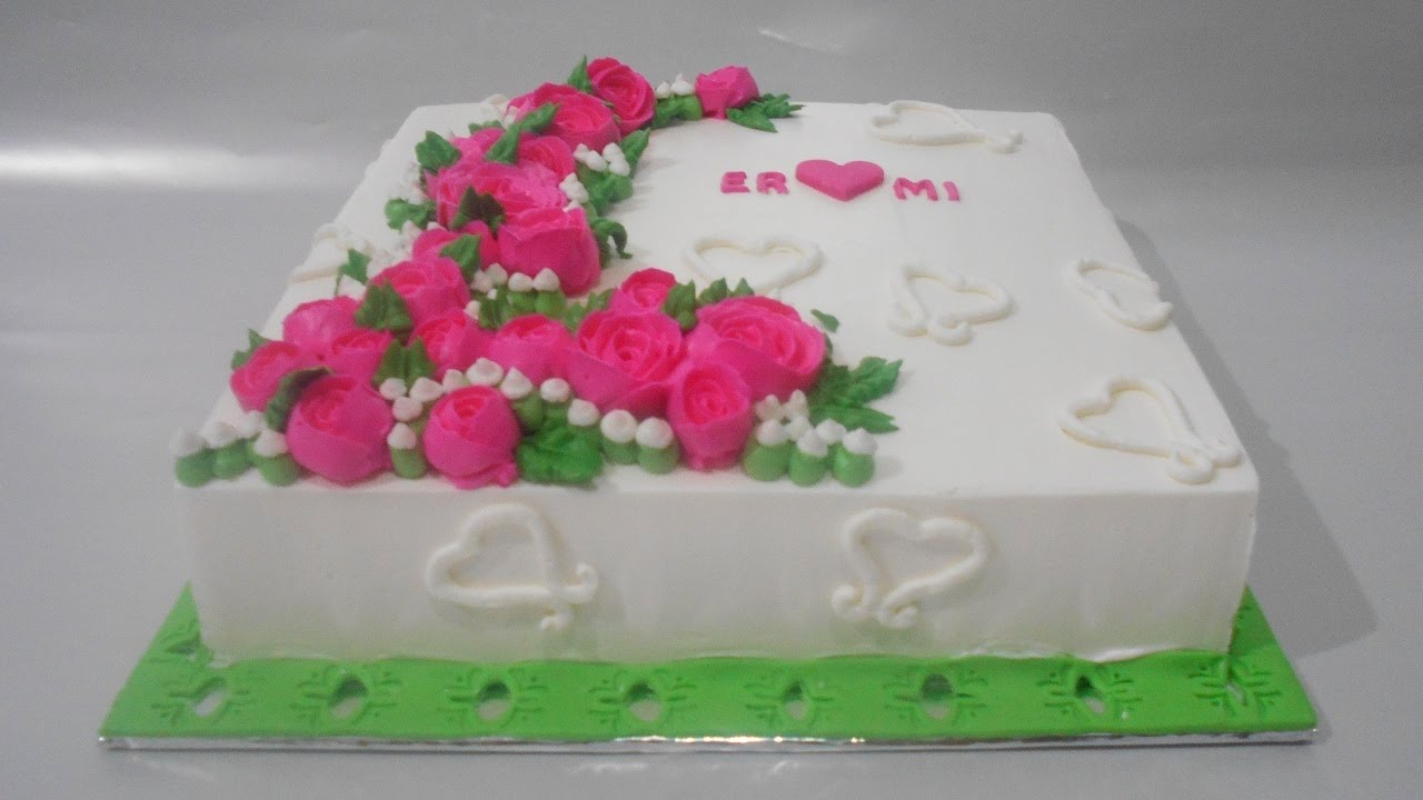 Cake Decorating Ideas Square : Flowers Cake Square Buttercream Decorating - YouTube