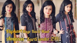 Amazon/Flipkart Kurti under 299/-/Huge Kurti haul/ Kurti Shopping Haul/Organic Touchup