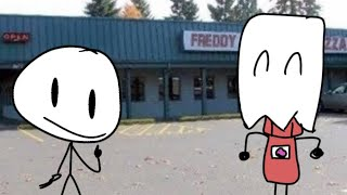 Stick Man Goes To Freddy Faz Bear's Pizza (FT. FUNNY BAG MAN)