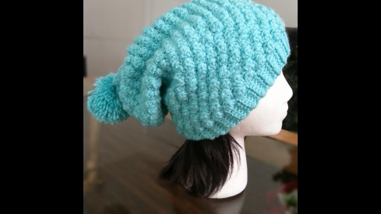 Como tejer a Crochet gorro en punto burbuja - YouTube 7ede7300c77