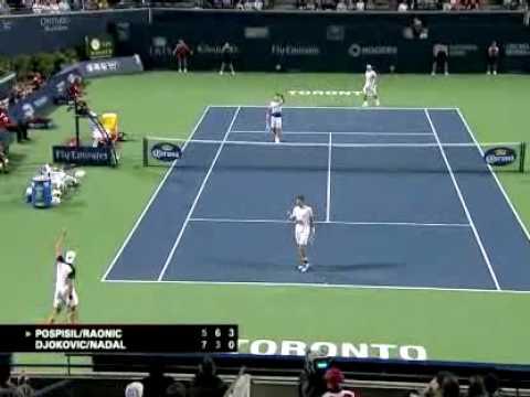 Nadal / Djokovic Doubles 3rd Set Tiebreaker vs. Pospisil / Raonic