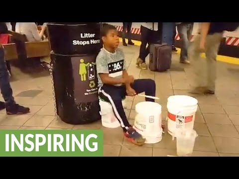 Amazingly talented child subway drummer
