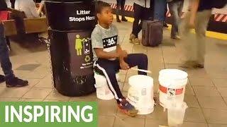 Amazingly talented child subway drummer