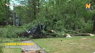 Large tornado tears through a neighborhood near Chicago