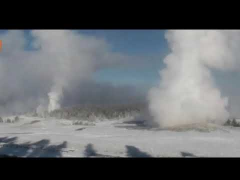 Yellowstone volcano eruption powerful geysers ERUPTING under blanket of snow