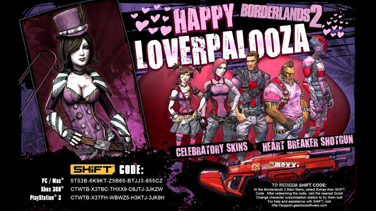 Borderlands 2 - Loverpalooza Shift Code - HEART BREAKER ... Borderlands 2 Shift Codes