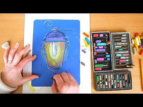 2 клас. Мистецтво. Нічні вогні - пригоди ліхтарика. Малюємо пастеллю на синьому папері ліхтарика.