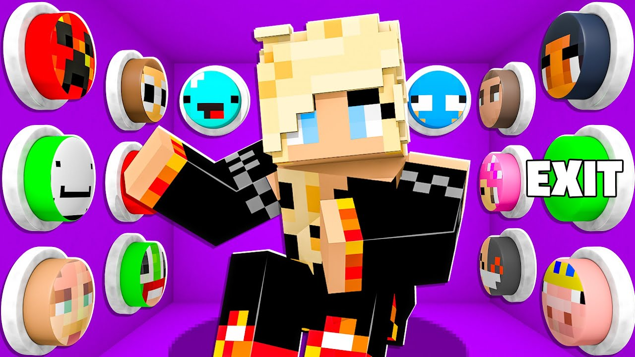Download 100 YouTuber Mystery Buttons But Only One Lets You Escape... - Minecraft