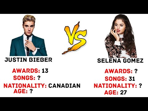 Justin Bieber VS Selena Gomez(age,awards,height, Weight,songs)comparisons