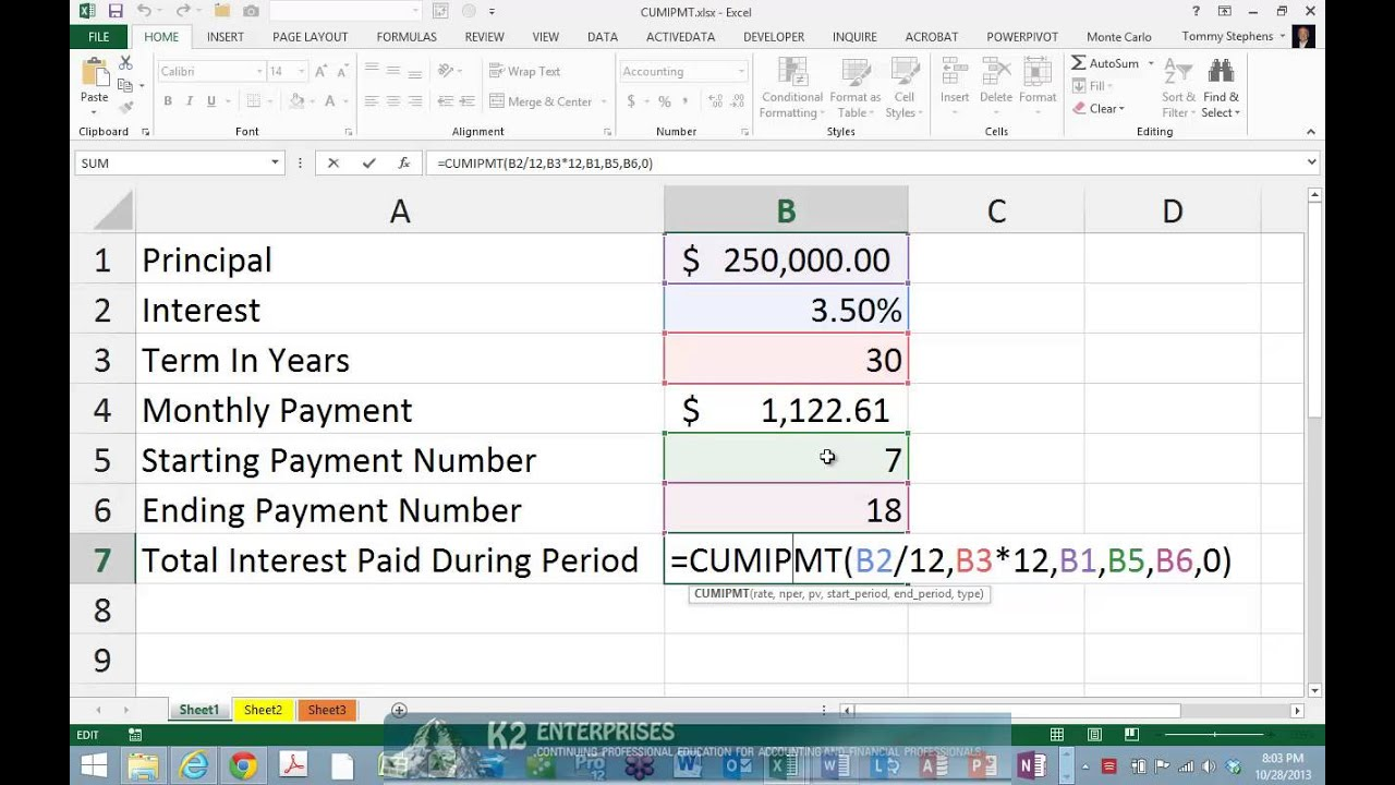 Using Excel's CUMIPMT Function To Determine Interest Paid Over Multiple Loan Payments - YouTube