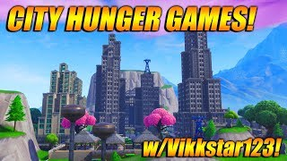 PLAYING MY CITY HUNGER GAMES WITH Vikkstar123 In Fortnite Battle Royale! Creative Big Build!