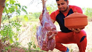 GOAT LEGS IN MUD POT || AWESOME CURRY RECIPES || GOAT MEAT RECIPES