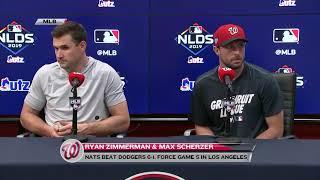 Ryan Zimmerman and Max Scherzer after Nats' win NLDS Game 4