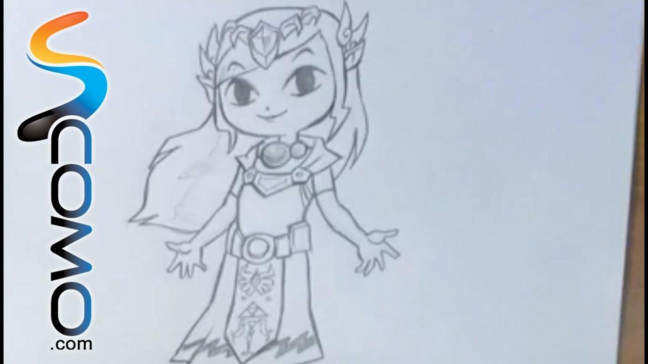 Dibujar a la princesa Zelda - YouTube