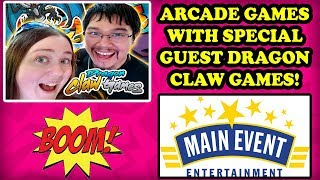Main Event Arcade Games with Dragon Claw Games! NolaMom plays Pac-Man Chomp Mania! JACKPOT? TeamCC